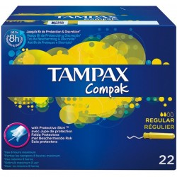 TAMPAX COMPAK TAMPON REGULAR 22 UNITS