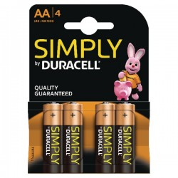 DURACELL SIMPLY AA4 PACK 4 PILAS LR6