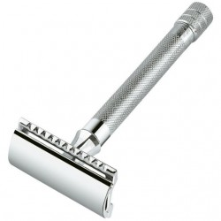 DOVO SAFETY RAZORS 23C LONG HANDLE 1 SAMPLE BLADE CHROMEPLATED, STRAIGHT CUT IN BOX
