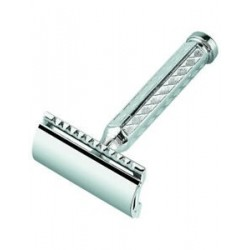 DOVO SAFETY RAZORS SHORT HANDLE 1 SAMPLE BLADE CHROMEPLATED, STRAIGHT CUT IN BOX