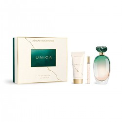 ADOLFO DOMINGUEZ UNICA 100ML EDT + PERFUMED BODY LOTION 75ML + MINIATURE EDT 10ML
